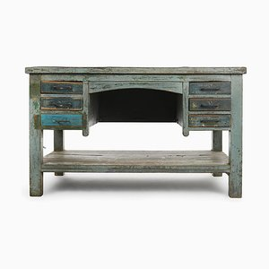 Patinated Wooden Desk with 6 Drawers, 1940s