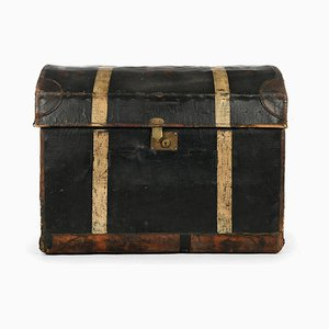 Wooden Travel Chest with Canvas Storage, 1920s
