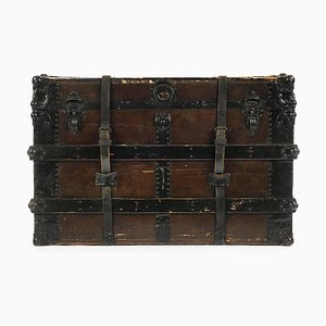 Wooden Chest with Leather Fittings and Straps, 1920s