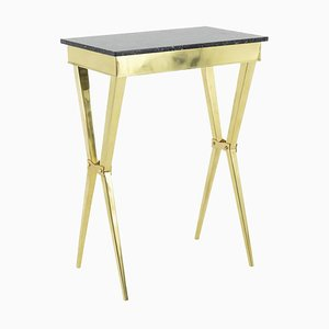 Console Table in Gilt Brass and Black Marble, 1950s