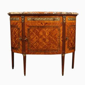 French Inlaid Demilune Sideboard with Marble Top, 1950s
