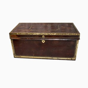 Antique Georgian Studded Vellum and Camphor Wood Chest or Trunk