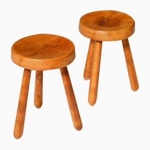 Mid-Century French Solid Elm Stools, 1960s, Set of 2