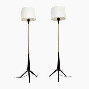 Vintage Tripod Floor Lamps, 1960s, Set of 2