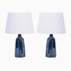 Blue Stoneware Model 1042 Table Lamps by Einar Johansen for Søholm, 1970s, Set of 2