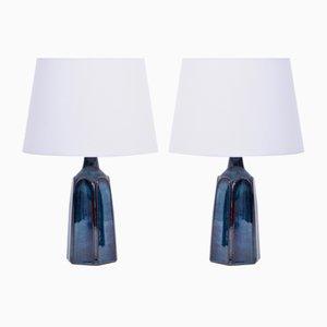 Modell 1042 Tischlampen aus blauem Steingut von Einar Johansen für Søholm, 1970er, 2er Set