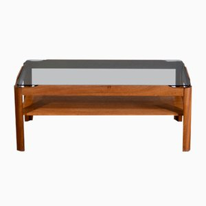 Mid-Century Teak & Smoked Glass 2-Tier Coffee Table from Myer, 1960s