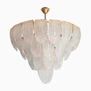 Large Mid-Century Clear Murano Glass Chandelier in the Style of Mazzega, 1980s