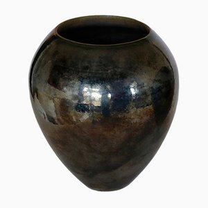 Große Schwarze Vintage Keramikvase