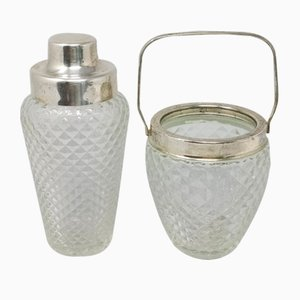 Mid-Century Italian Cut Crystal Cocktail Shaker and Ice Bucket Set, 1950s