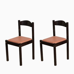 Italian Salmon Leatherette and Dark Wood Dining Chairs, 1980s, Set of 4