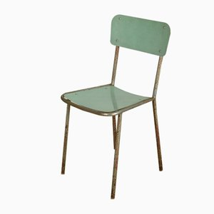 Italian Chromed Metal and Green Formica Dining Chair, 1950s