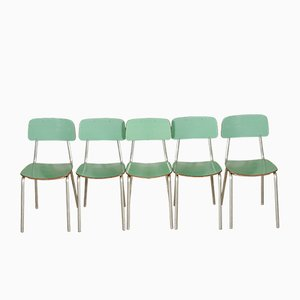 Italian Aluminum and Formica Dining Chairs, 1950s, Set of 5