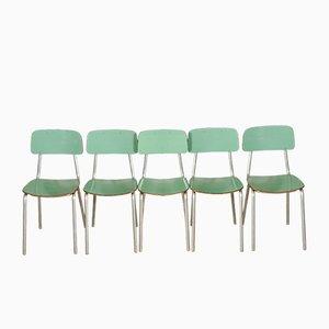 Italienische Esszimmerstühle aus Aluminium & Resopal, 1950er, 5er Set
