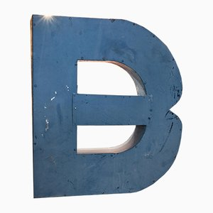 Large Vintage Blue Tin Letter B Sign, 1950s