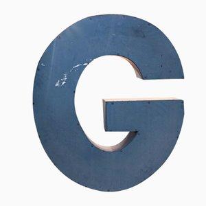 Large Vintage Blue Tin Letter G Sign, 1950s