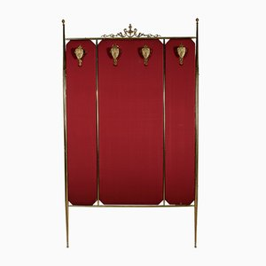 Italian Brass and Fabric Coat Rack, 1960s