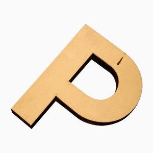 White Plastic Letter P Sign, 1970s