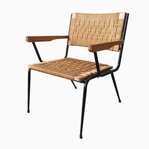 Mid-Century Black Painted Iron, Solid Wood, and Rope Weave Garden Chair, 1950s
