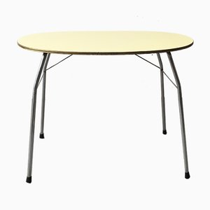 Mid-Century Yellow Formica and Polished Steel Coffee Table with Folding Legs, 1950s