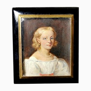 English Black Lacquer Box with Hand Painted Tempera Miniature by Alexander Austen, 1882