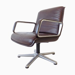 Brown Leather Model Delta 2000 Armchairs by Delta Design for Wilkhahn, 1960s, Set of 2