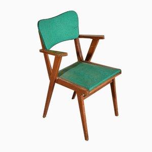 Silla de escritorio italiana de cuero verde y madera, años 70