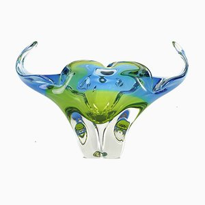 Cobalt Blue and Lime Glass Bowl by Josef Hospodka for Sklarna Chribska, 1960s