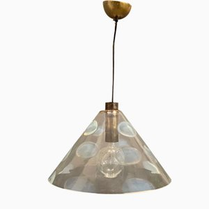 Mid-Century Light Blue Murano Glass Pendant Lamp from Mazzega, 1970s