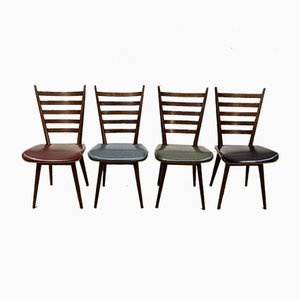 Teak and Leatherette Dining Chairs in the Style of Cees Braakman for Pastoe, 1960s, Set of 4
