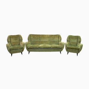 Sedie Mid-Century in velluto di lino e divano di Gio Ponti per ISA Bergamo, anni '50, set di 3