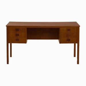 Danish Teak Desk with 6 Drawers & Sculptural Pull-Out Handles, 1960s