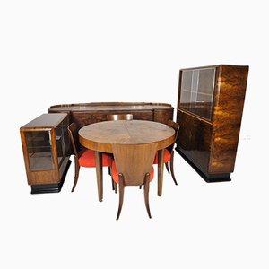Art Deco Walnuss Furnier Wohnzimmer Set von Jindřich Halabala für UP Závody, 1930er, Set of 8