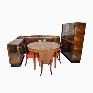 Art Deco Walnut Veneer Living Room Set by Jindřich Halabala for UP Závody, 1930s, Set of 8