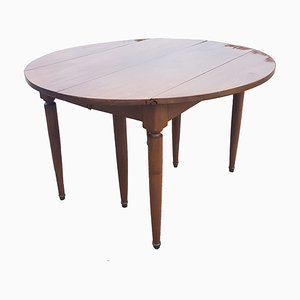 Vintage Walnut Veneer 6-Legged Dining Table with Flaps