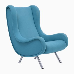 Mid-Century Blue Senior Lounge Chair by Marco Zanuso for Arflex, 1950s