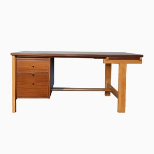Vintage Scandinavian Oak and Mahogany Desk by Hans J. Wegner for Getama, 1960s