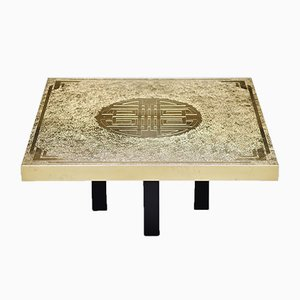 Belgian Etched Brass Coffee Table from Elias Segura, 1990s