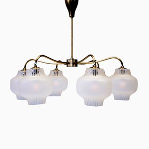 Scandinavian Modern Swedish 6-Arm Ceiling Lamp, 1950s