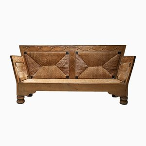 Scandinavian Arts & Crafts Oak and Straw Sofa Bench, 1920s