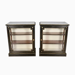 Antique Ebonized Brass Inlaid Display Cabinets, Set of 2