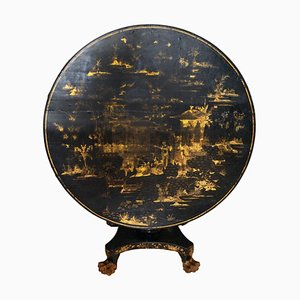 Antique English Regency Chinese Lacquer Tilt Top Dining Table, 1840s