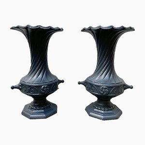 Vintage Cast Iron Garden Urns, 1950s, Set of 2