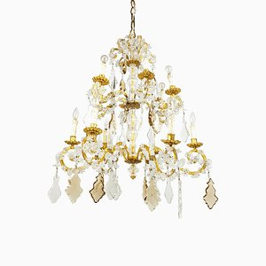 Large Italian Gold Leaf Metal and Faceted Crystal 12-Light Chandelier, 1930s