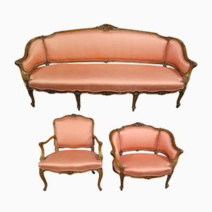 Antique Rococo Sofa and Chairs Set, Set of 3