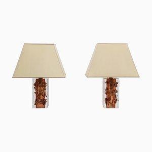Lampes de Bureau Vintage en Lucite et Cuivre Attribué à Felice Antonio Botta, Set de 2