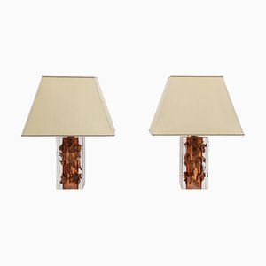 Vintage Lucite and Copper Table Lamps Attributed to Felice Antonio Botta, Set of 2
