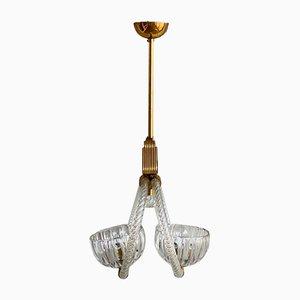 Lampada da soffitto Art Déco in ottone di Ercole Barovier per Barovier & Toso, anni '30