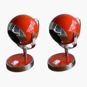 Vintage Space Age Orange Ball Table Lamps, 1970s, Set of 2