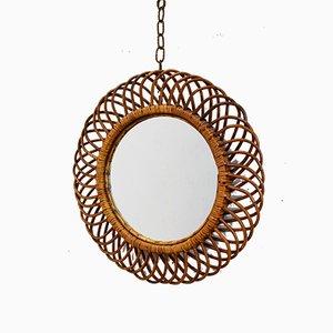 Italian Round Woven Bamboo Mirror, 1960s
